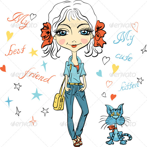 GraphicRiver Fashion Girl with Kitten 8391522