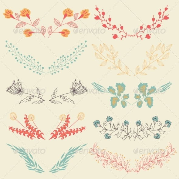 GraphicRiver Set of Graphic Floral Design Elements 8391600