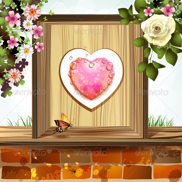 GraphicRiver Window Frame with Heart and Flowers 8391603