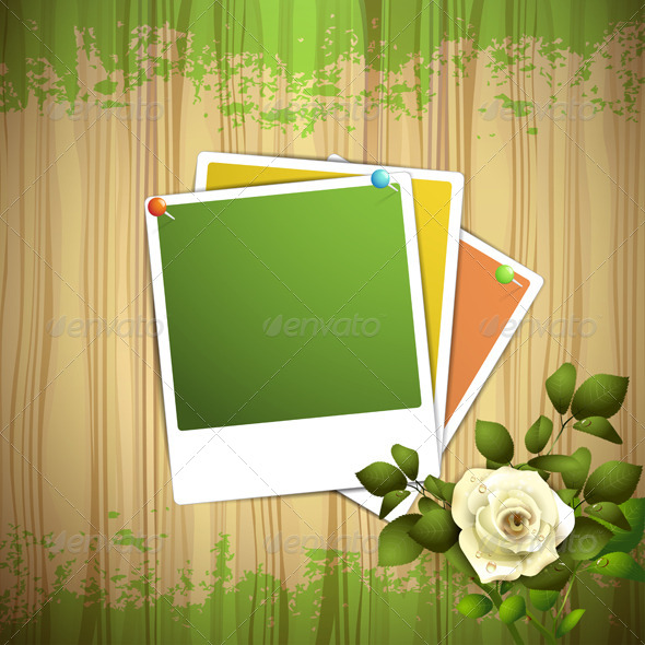 GraphicRiver Wood Background with Photos and White Rose 8391690