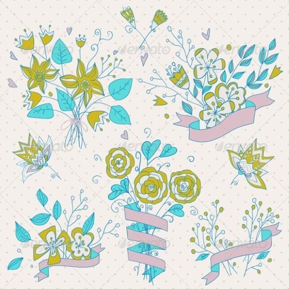 GraphicRiver Flower Bouquet Set 8391822