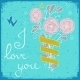 Greeting Card with Bunch of Flowers and Ribbon - GraphicRiver Item for Sale