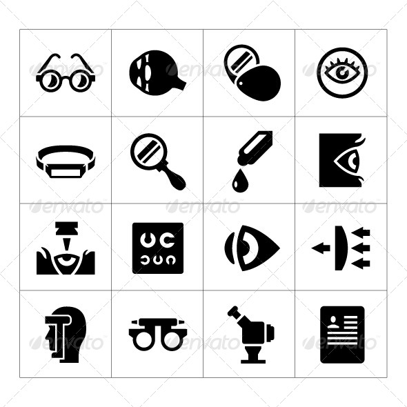 GraphicRiver Set Icons of Ophthalmology and Optometry 8392036