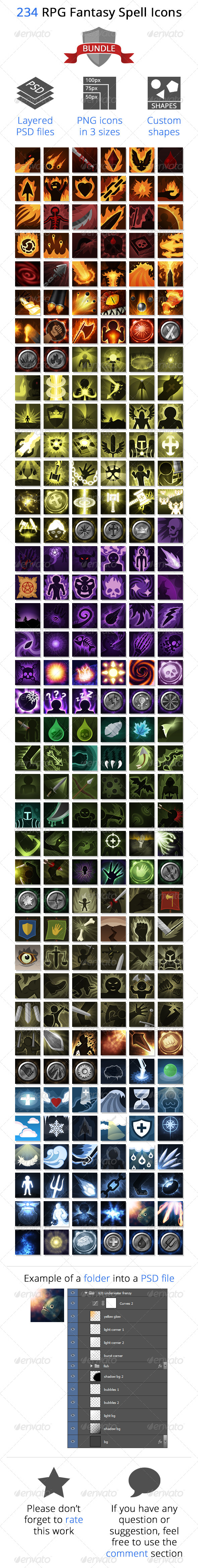 GraphicRiver 234 RPG Fantasy Spells Icons Bundle 8392138