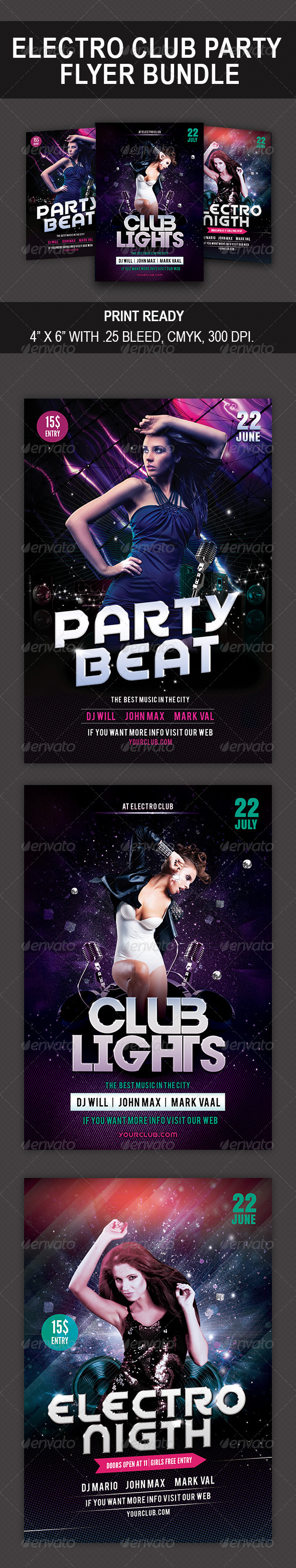 GraphicRiver Electro Club Party bundle 8392207