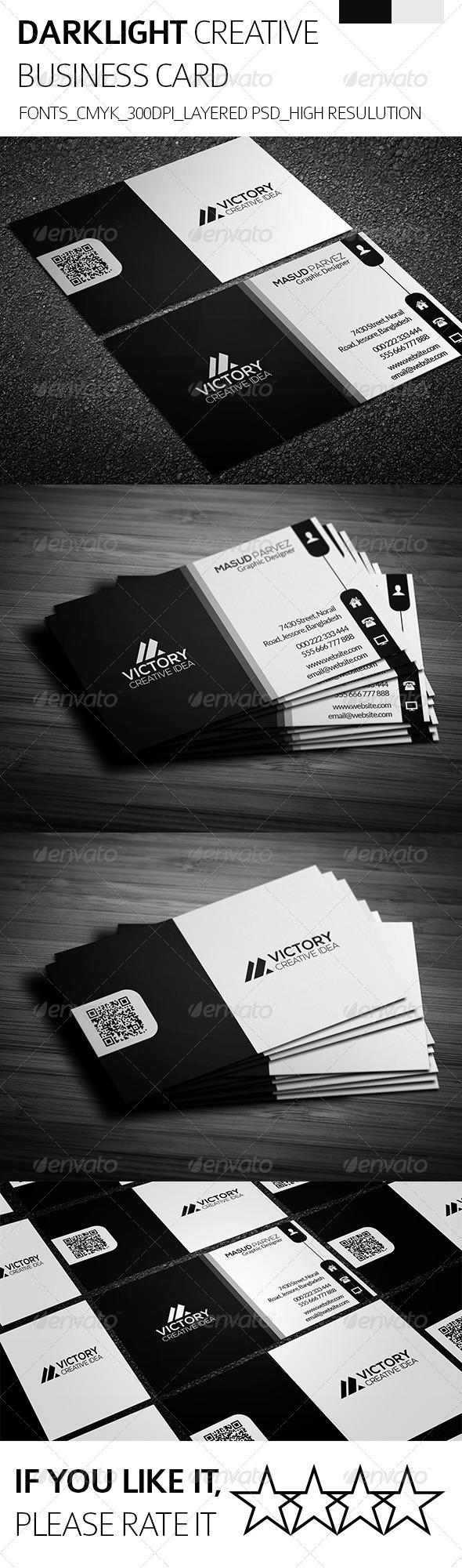 GraphicRiver Dark Light & Creative Business Card 8392211