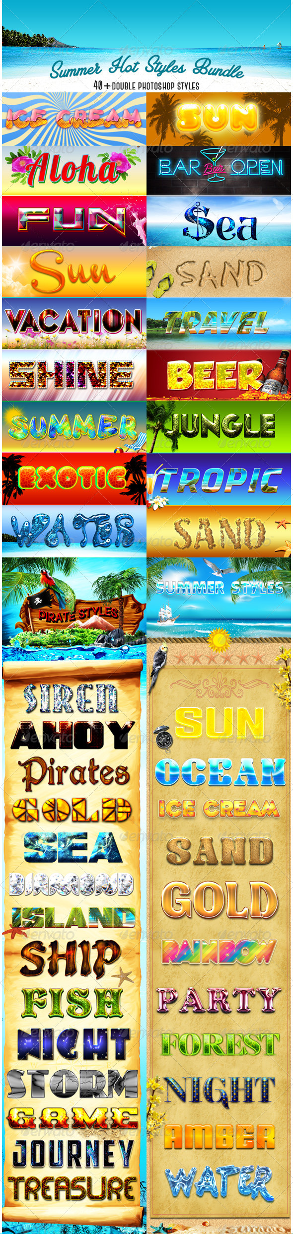 GraphicRiver Summer Hot Styles Bundle 8392310