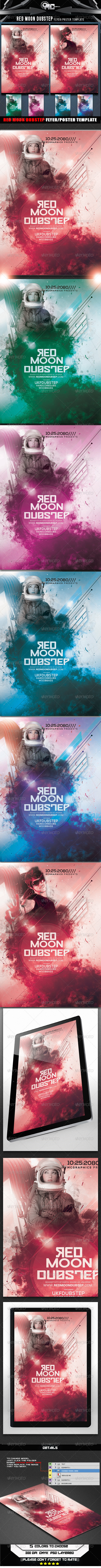 GraphicRiver Red Moon Dubstep Flyer Poster Template 8392389