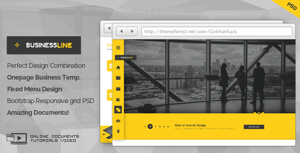 BusinessLine - Onepage Business .PSD Theme - Business Corporate