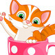 Cat in a Tea Cup - GraphicRiver Item for Sale