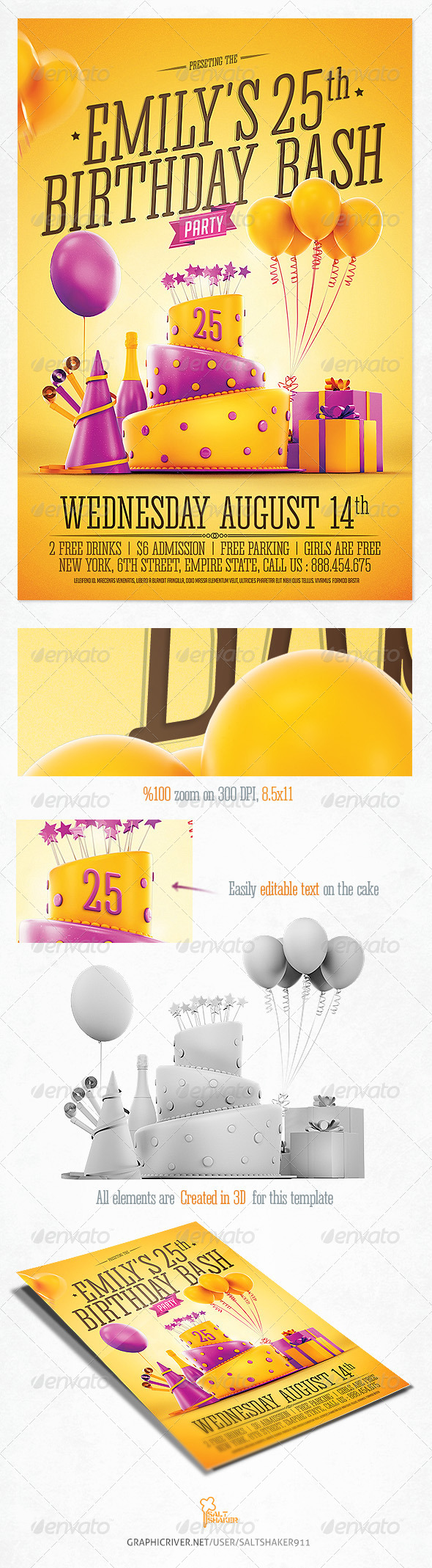 GraphicRiver Birthday Party Invitation Flyer 8395185