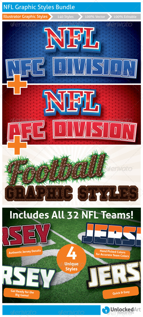 GraphicRiver NFL Graphic Styles Bundle 8395253