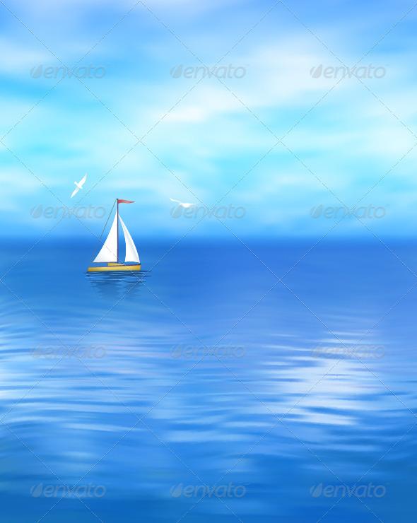 GraphicRiver Yacht Seascape 8396814