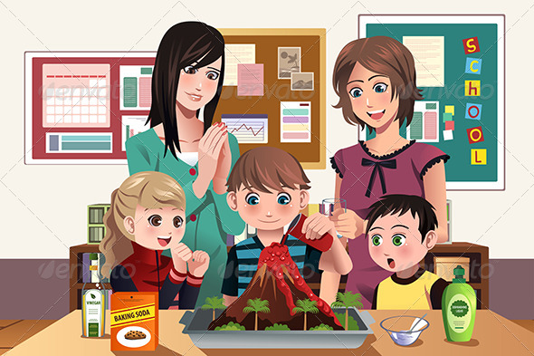 GraphicRiver Elementary students with Volcano Experiment 8398834