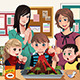 Elementary students with Volcano Experiment - GraphicRiver Item for Sale