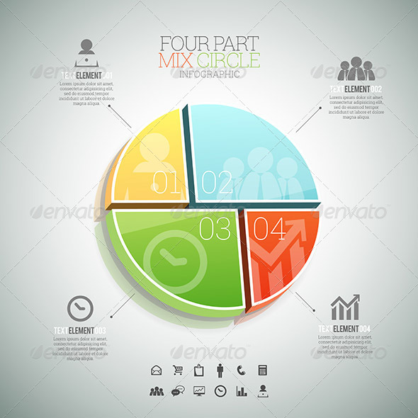 GraphicRiver Four Part Mix Circle Infographic 8398897