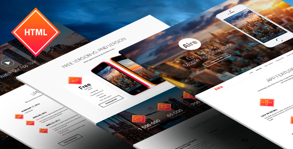 ThemeForest Aire App Landing Page HTML5 Less Template 8376097