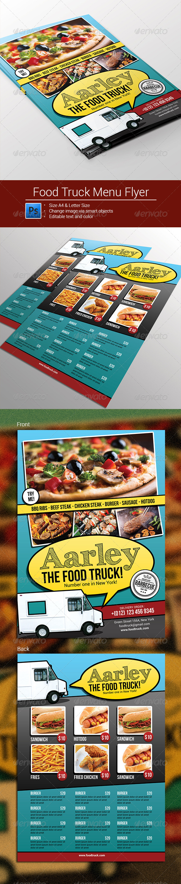 GraphicRiver Food Truck Menu Flyer 8399366