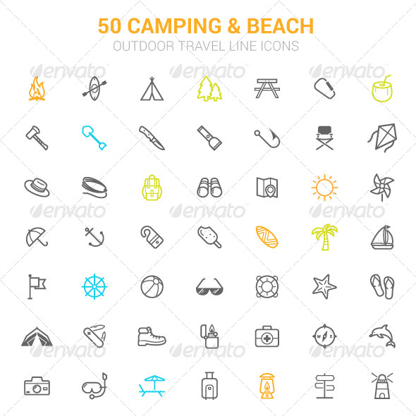 GraphicRiver 50 Outline Stroke Beach and Camping Icons 8401437