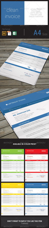GraphicRiver Clean Invoice 8402366