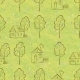 Seamless Pattern of House Contours and Trees - GraphicRiver Item for Sale