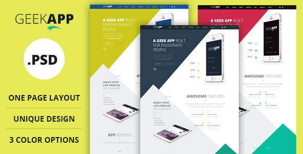 GeekApp is a modern, unique and clean Single Page PSD template suitable for mobile, iPad App website. Template is fully editable and well organized layers. You