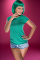 Cute slender young woman with green hair - PhotoDune Item for Sale