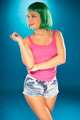 Cute slender young woman with green wig - PhotoDune Item for Sale