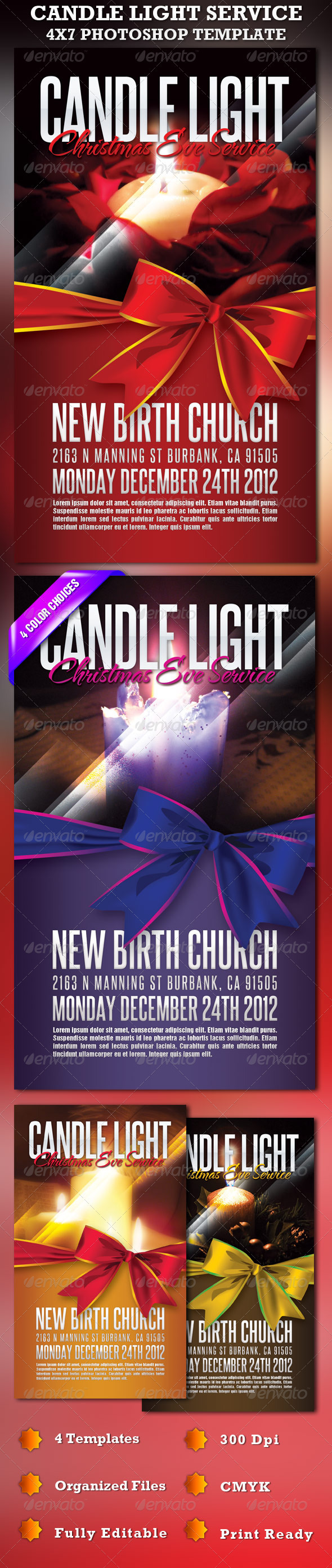 Candle Light Service 4X7 Photoshop Template - Church Flyers