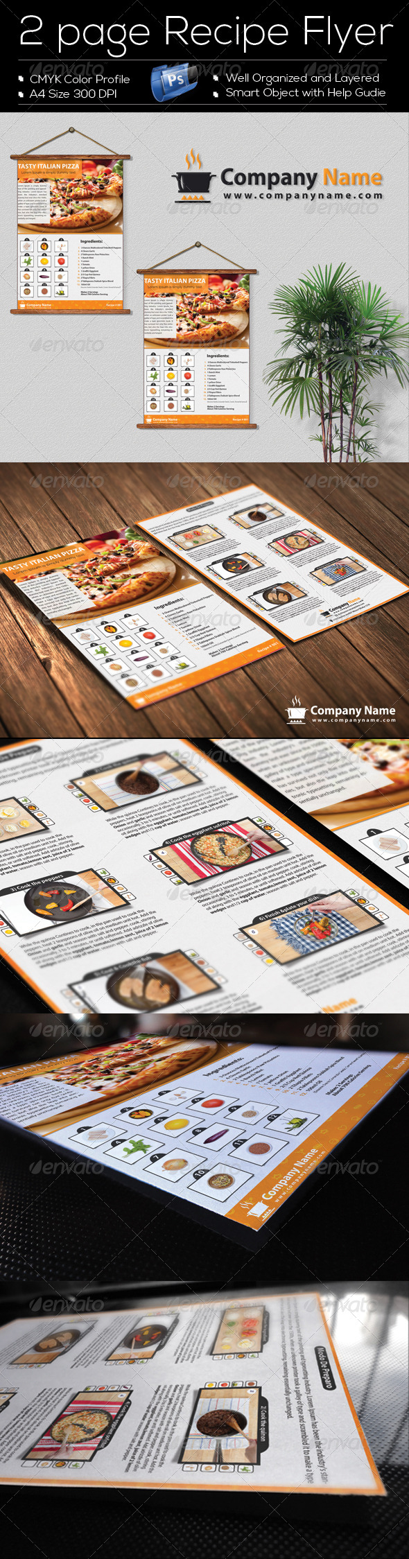 GraphicRiver 2 Page Recipe Flyer Template Design 8325558