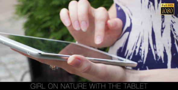 Girl On Nature With The Tablet 11