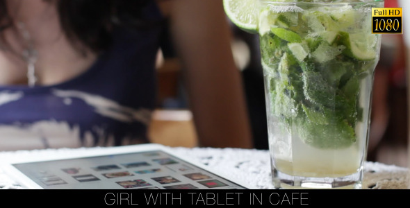 Girl With Tablet In Cafe 14
