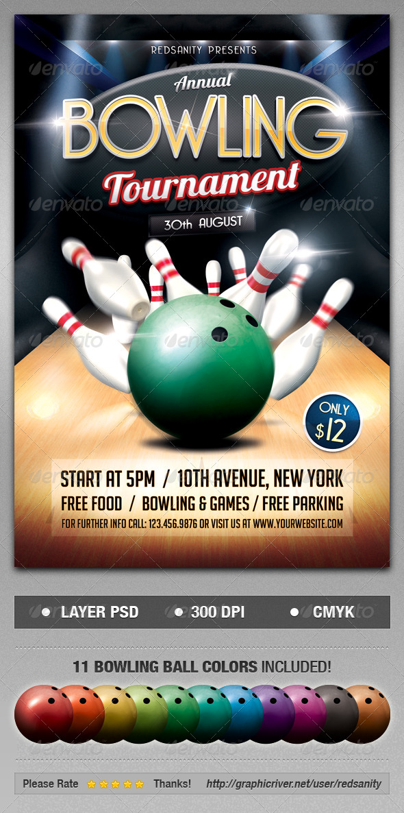 GraphicRiver Bowling Tournament Flyer 8405703