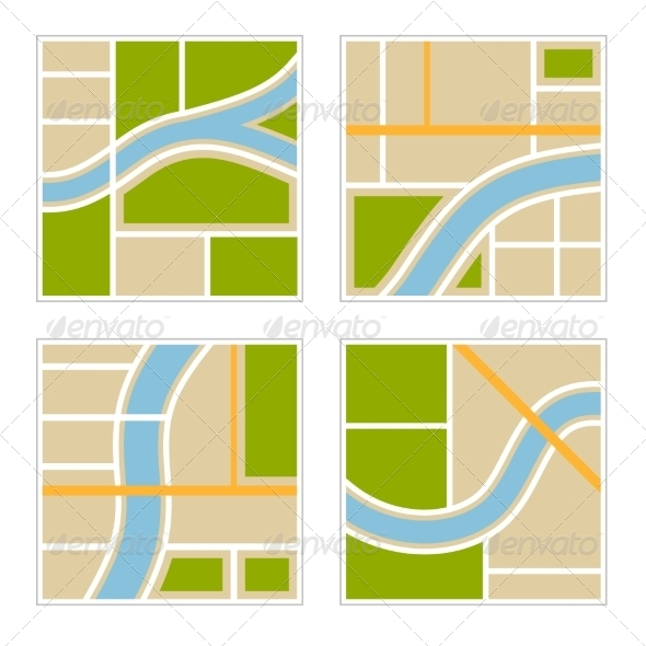 GraphicRiver Set of Abstract City Map Illustration 8405704