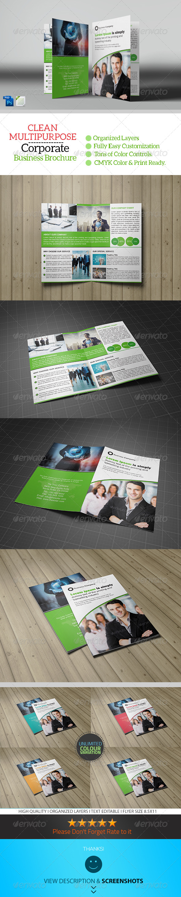 GraphicRiver Corporate Bifold Brochure Template 8406001