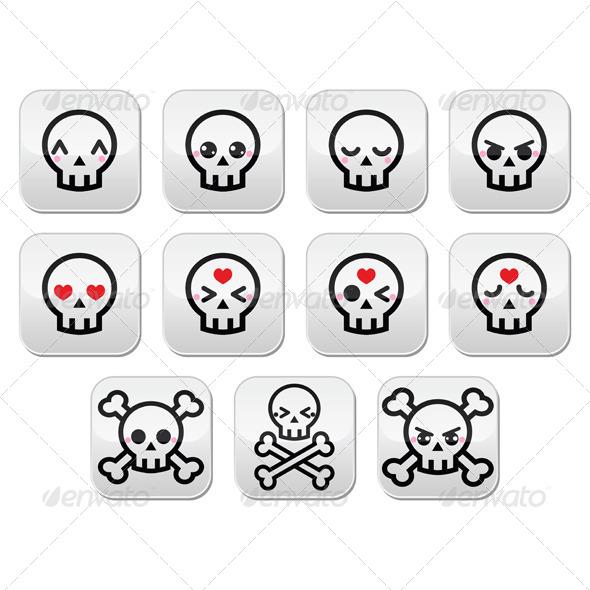 GraphicRiver Kawaii Halloween Skull Buttons Set 8406029