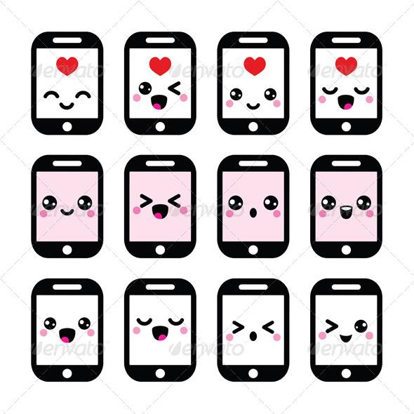GraphicRiver Japanese Kawaii Character Phone Icons 8406035