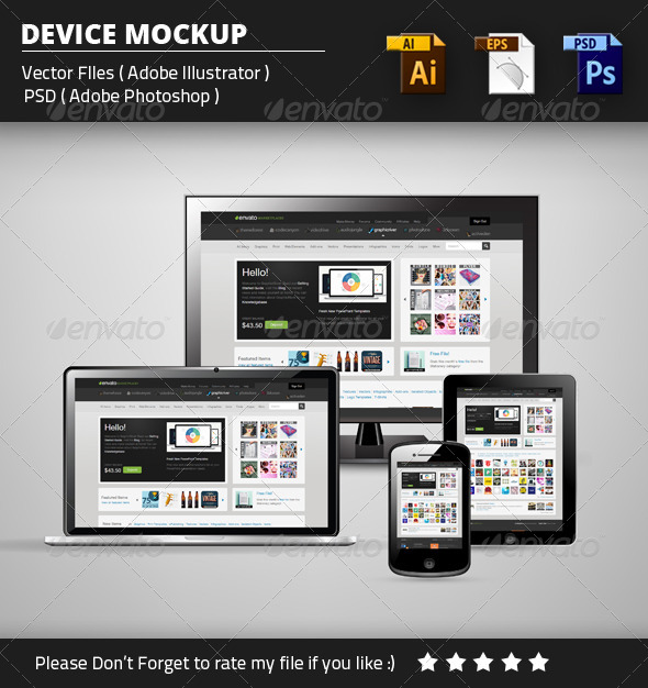 GraphicRiver Device Mockup Vector & PSD 8376828