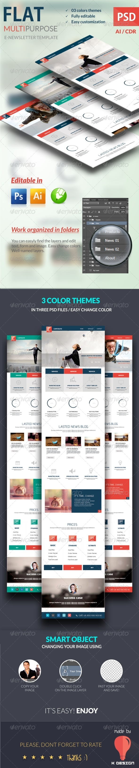 GraphicRiver Flat Multipurpose E-newsletter Template 8406062