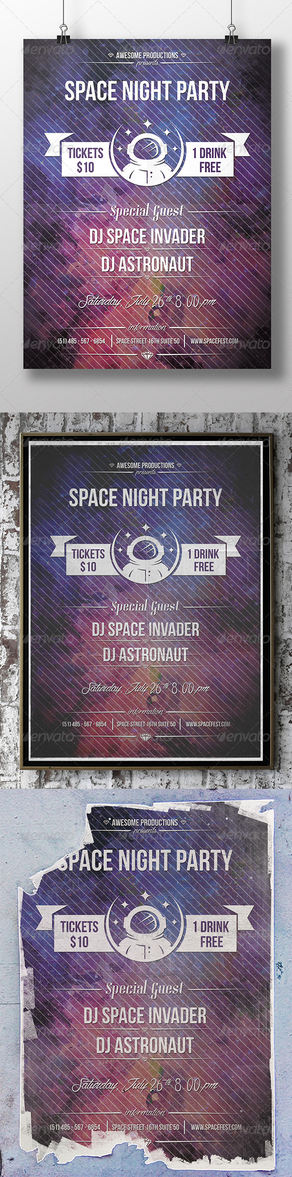 GraphicRiver Space Party Flyer 8406107