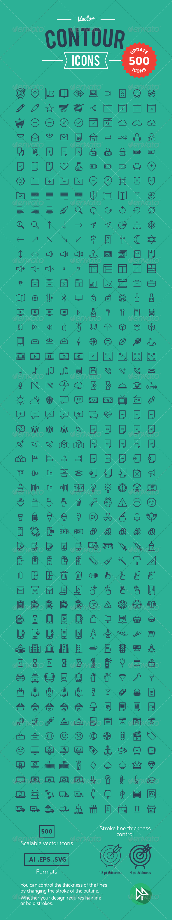 GraphicRiver 500 Vector Contour Icons 8406177