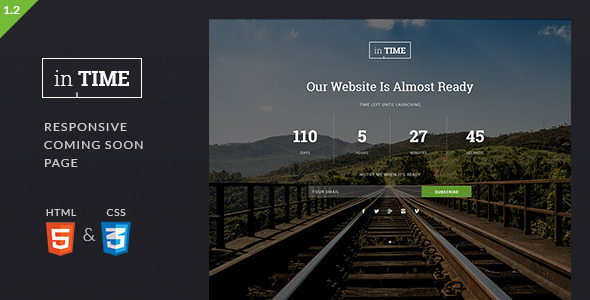 inTime - Responsive Coming Soon Template - Under Construction Specialty Pages