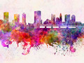 Columbus skyline in watercolor background - PhotoDune Item for Sale