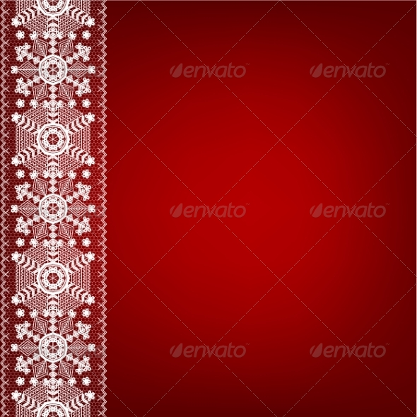 GraphicRiver Lace Border with Snowflakes 8406435