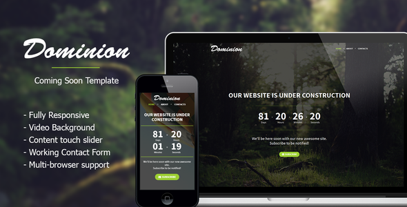 ThemeForest Dominion Responsive Coming Soon Template 8406444