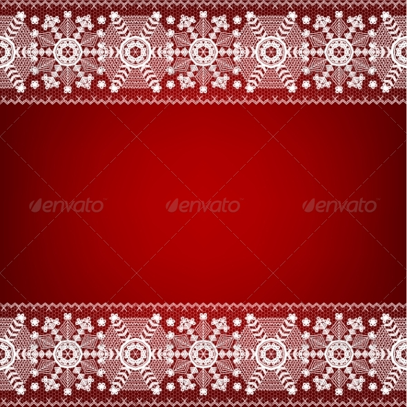 GraphicRiver Lace Border with Snowflakes 8406445
