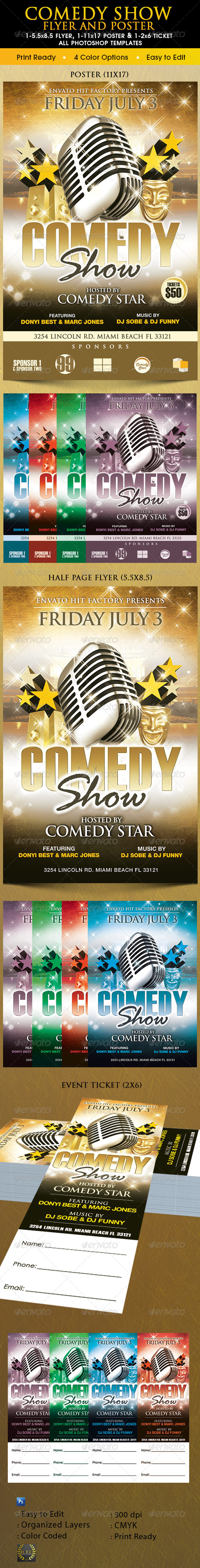 GraphicRiver Comedy Show Poster Flyer & Ticket 8406768