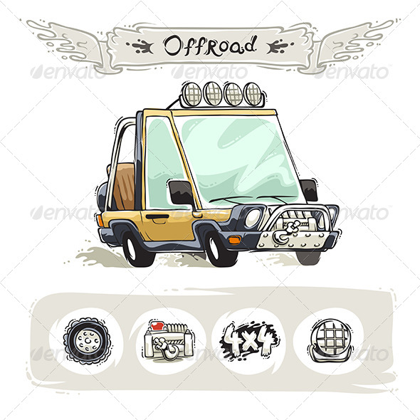 GraphicRiver Cartoon Beach SUV Set 8406948