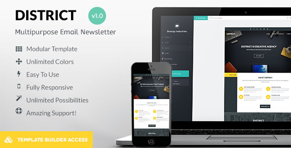 ThemeForest District Responsive Mail & Builder Editor Access 8407257