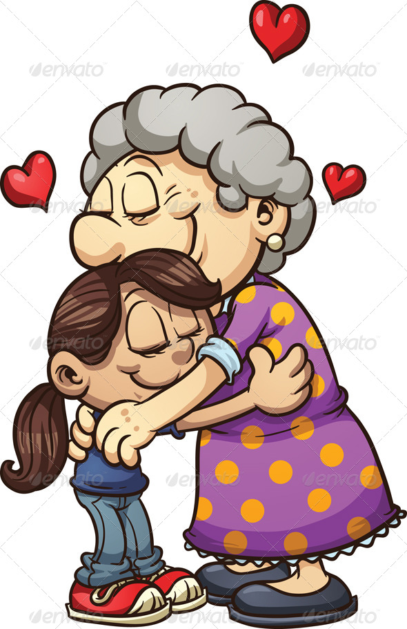 GraphicRiver Girl Hugging Grandma 8407258